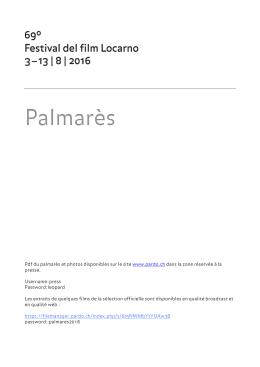 Palmarès - Festival del film Locarno