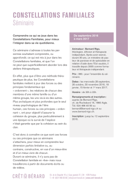 CONSTELLATIONS FAMILIALES Séminaire