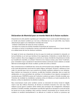 Déclaration de Montréal pour un monde libéré de la fission nucléaire