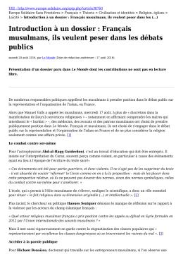 Introduction à un dossier : Français musulmans, ils veulent peser