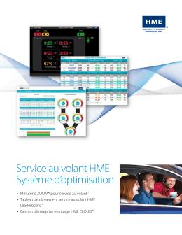 Service au volant HME Système d`optimisation