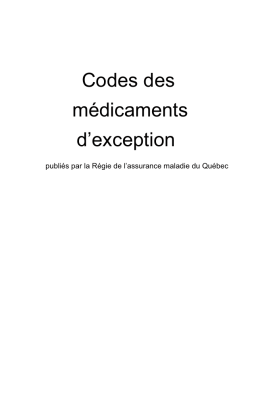 Codes des médicaments d`exception