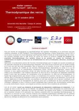 Thermodynamique des verres - GDR 3584