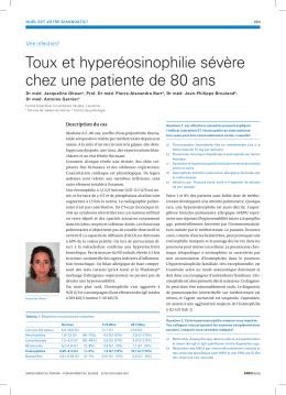 Toux et hyperéosinophilie sévère chez une patiente de 80 ans
