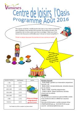 Programme des vacances en Aout