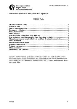 Primes 1 Commission paritaire du transport et de la logistique