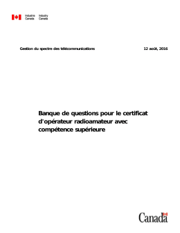 Banque de questions pour le certificat d`opérateur radioamateur