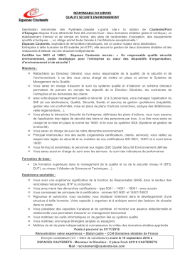 RESPONSABLE DU SERVICE QUALITE SECURITE