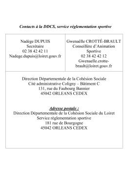 Contacts à la DDCS, service réglementation sportive Nadège