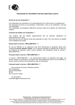 PROCEDURE DE TRAITEMENT DES - ECA
