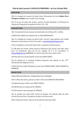 Fête de Saint Laurent - Castelló d`Empúries i Empuriabrava