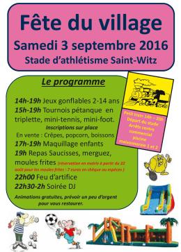 Fête du village Samedi 6 septembre 2014 Centre commercial Saint