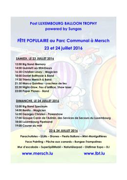FÊTE POPULAIRE au Parc Communal à Mersch 23 et 24 juillet