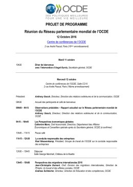 PROJET DE PROGRAMME Réunion du Réseau
