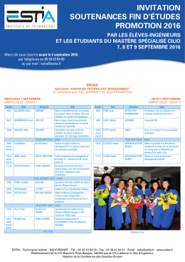 invitation soutenances fin d`études promotion 2016