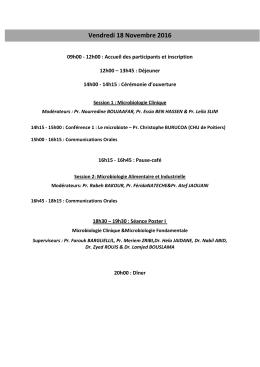 Programme détaillé du 18 au 20 Novembre 2016