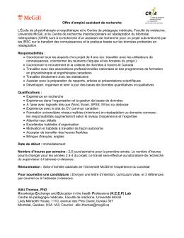 Université McGill - Assistant(e) de recherche temps partiel