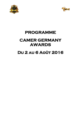 Programme - CAMER GERMAN AWARDS