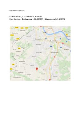 Etzmatten 61, 4153 Reinach, Schweiz Koordinaten: Breitengrad