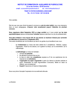 Bulletin d`inscription au stage de préparation intensive