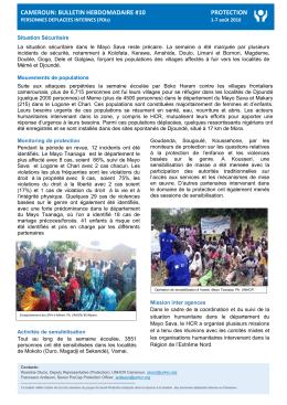 CAMEROUN: BULLETIN HEBDOMADAIRE #10 PROTECTION