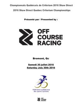 Championnats Québécois de Critérium 2016 Shaw Direct 2016