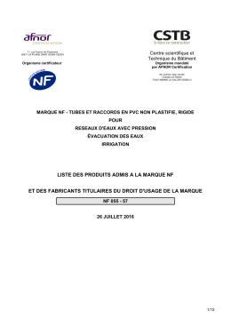 Liste des certificats NF 055