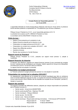 CSO_AG 2016 compte rendu - Centre Subaquatique Orléanais