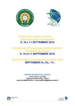 9, 10 e 11 SETTEMBRE 2016 - Federazione Italiana Turismo