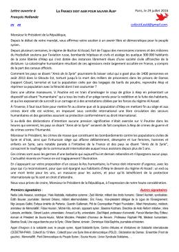 Lettre ouverte à François Hollande Paris, le 29 juillet 2016 collectif