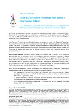 Paris 2024 accueille le Groupe ADP comme Fournisseur Officiel