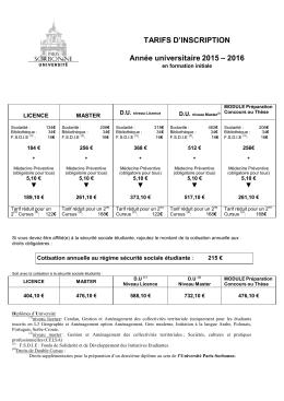 TARIFS D`INSCRIPTION Année universitaire 2015 – 2016