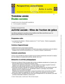 Études sociales – Activité sociale – fêtes de l`action de grâce