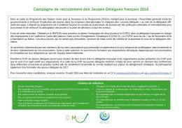 Campagne de recrutement des Jeunes Délégués français