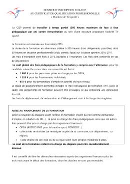 DOSSIER D`INSCRIPTION 2016-2017 AU CERTIFICAT DE