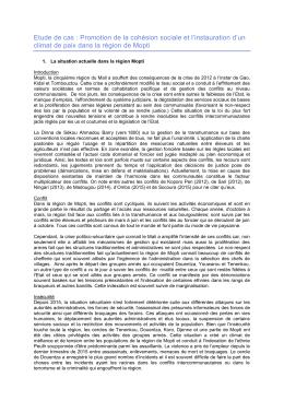 Etude de cas : Promotion de la cohésion sociale et l`instauration d