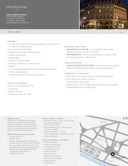 Fiche d`information - Hotel du Louvre
