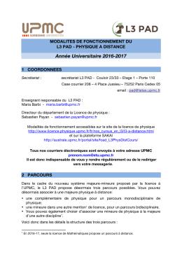 Modalités de fonctionnement L3 PAD 2016-17