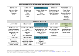 Menu cantine Octobre 2016