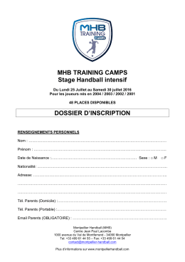 MHB TRAINING CAMPS Stage Handball intensif DOSSIER D