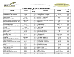 Cafétéria liste de prix primaire 2016-2017