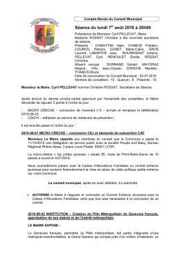 CRCM du 01 août 2016 - Mairie de Arthaz Pont-Notre-Dame