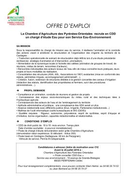 OFFRE D`EMPLOI - Chambre d`Agriculture Pyrénées Orientales