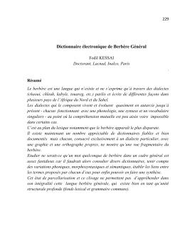 Dictionnaire électronique de Berbère Général