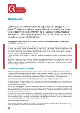 Délibération de la CRE du 27 juillet 2016 portant avis sur le projet