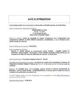 AVIS D`ATTRIBUTION - Conseil Départemental du Jura