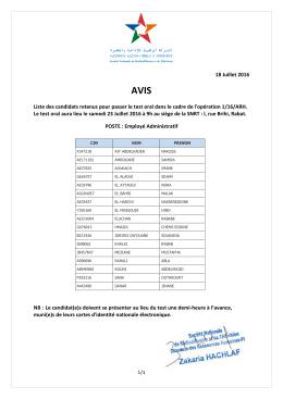 Avis Préselection Employé Administratif - E-recrutement-SNRT