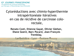 Cytoréductions avec chimio-hyperthermie - journee