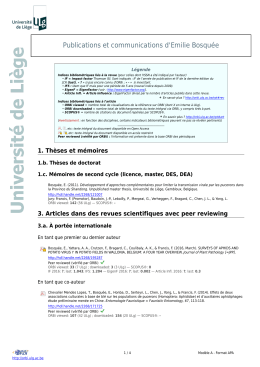 Publications et communications d`Emilie Bosquée
