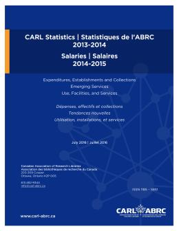 Statistiques de l`ABRC 2013-2014 Salaries | Salaires 2014-2015